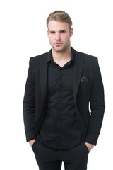 Rules for wearing all black clothing. Black fashion trend. Man elegant manager wear black formal outfit on white background. Reasons black is the only color worth wearing. Elegance in simplicity