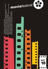 City skyline made from film strip design elements. Movie cinema retro poster design layout. Symbolic minimalist flyer  for film festival. Artistic vector illustration.
