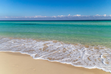 Background of tropical white sand beach and turquoise sea