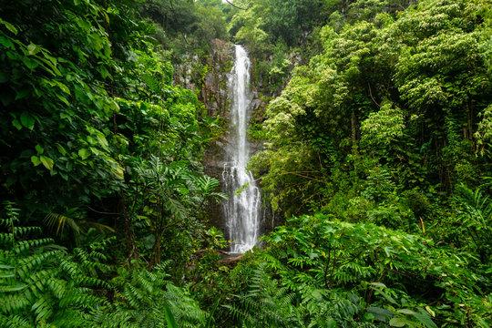 Road to Hana waterfall landscape in Maui, Hawaii