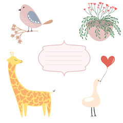 Greeting card elements. Vector elements for greeting card. Vector giraffe, birds, heart, frame and flowers. Pastel vector elements for greeting card