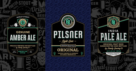 Vector vintage beer labels