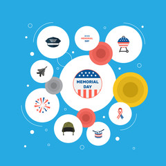 Set of memorial icons flat style symbols with firework, american ribbon, history and other icons for your web mobile app logo design.