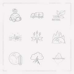 Set of ecology icons line style symbols with thunder, iceberg, sea landscape icons for your web mobile app logo design.