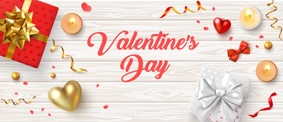 Happy St. Valentine's Day wooden banner with gifts, candles, 3d hearts and confetti.