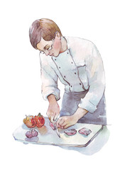 chef cooking dinner watercolor illustration