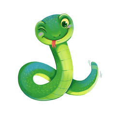 Cute Snake. Symbol of the Chinese New Year.
