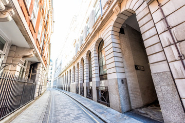 London, UK Ironmonger lane narrow alley street by Bank of England and Royal Exchange exterior...