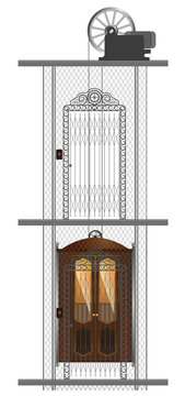 Detailed image of an old metal elevator in a residential building.