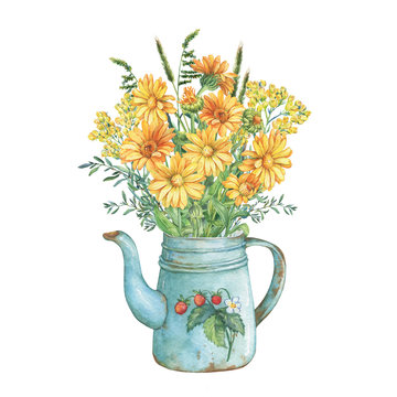 Rustic blue metal teapot with strawberries pattern and summer bouquet of calendula, herbs and immortelle flowers. Watercolor hand drawn painting illustration, isolated on white background.