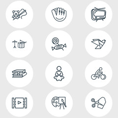 Vector illustration of 12 activities icons line style. Editable set of candy, tailoring, yoga icon elements.