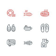 Vector illustration of 9 marine icons line style. Editable set of ship, sardine, lifebuoy and other icon elements.