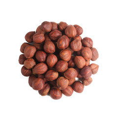 A circle of nuts. Whole hazelnut fruit without shell isolated on white background. Top view.