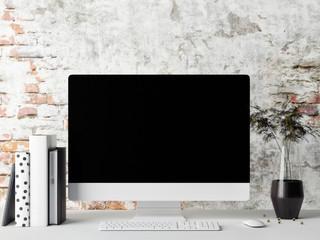 Monitor on table, mock up frame, 3d render, 3d illustration