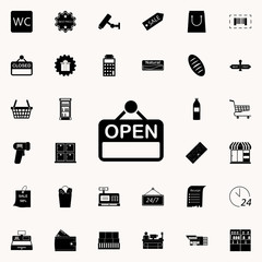 the sign is open icon. market icons universal set for web and mobile