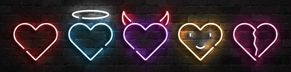 Vector set of realistic isolated neon sign of Heart logo for template decoration and layout covering on the wall background. Concept of Happy Valentines Day.