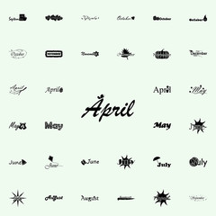 April icon. Name of month icons universal set for web and mobile