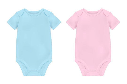 Vector Realistic Blue and Pink Blank Baby Bodysuit Template, Mock-up Closeup Isolated on White. Front and Back Side. Body children, baby shirt, onesie. Accessories, clothes for newborns. Top view