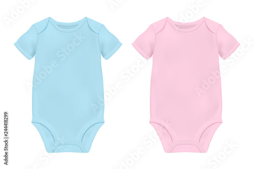 Vector Realistic Blue and Pink Blank Baby Bodysuit Template e6ed99d28