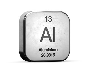 Aluminium element from the periodic table. Metallic icon 3D rendered on white background