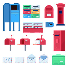 Post mailbox vector flat illustration. Letters and postboxes isolated icons