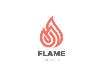 Wall Mural - Fire Flame Droplet Logo design vector Linear. Luxury icon