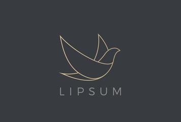 Wall Mural - Flying Bird Logo Elegant vector Linear. Dove Pigeon Luxury icon
