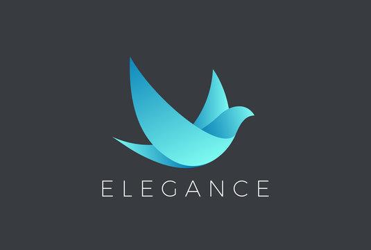 Flying Bird Logo design vector. Dove Pigeon Cosmetics icon