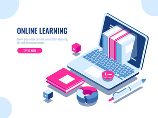 Catalog of online courses isometric icon, online education, internet learning, laptop with book on screen, seo optimization, content making, flat vector