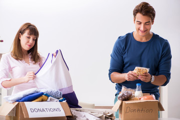 Concept of charity with donated clothing