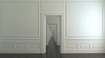 Interno architettonico vuoto con un'infinita sequenza di porte comunicanti, illustrazione 3d, rendering 3d.