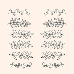 Hand drawn floral dividers set. Vector borders in sketch style. Tree branches with leaves. Easy to edit vintage elements of design for wedding invitation, menu, postcards, banners, posters, etc.