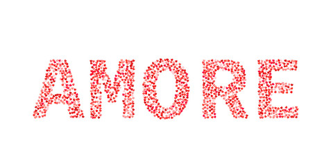 The word Amore made of little hearts shades of red and pink. Love in Italian. Valentine's day typography poster. Vector illustration. Easy to edit template for your artworks.