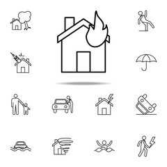 burning house line icon. Insurance icons universal set for web and mobile