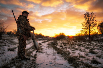 Winter hunting. Hunter moving with Shotgun and hare in his hands.