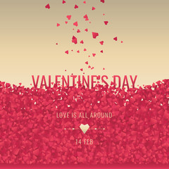Valentine's Day Template with Decor Red Hearts and Angel. Romantic promotion Card, Flyer, Banner. Vector.