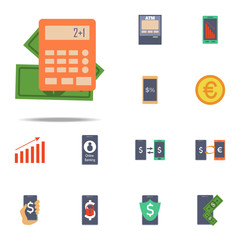 money and calculator colored icon. Banking icons universal set for web and mobile