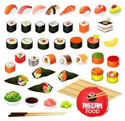 Sushi and rolls, gunkan, temaki and inari, ikura