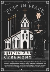 Funeral ceremony service, church priest