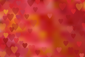 The romantic background with red, pink and orange hearts. Vector.