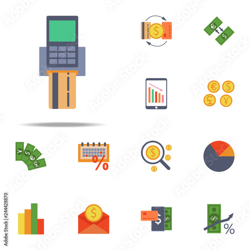 pos terminal and credit card colored icon  Banking icons