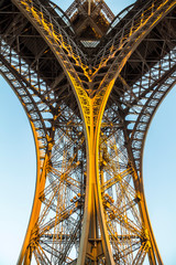Nice architecture of Eiffel tower in Paris in evening
