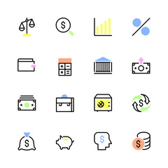 Set of financial icons in a linear style