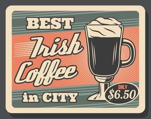 Irish coffee, vector retro glass cup and foam