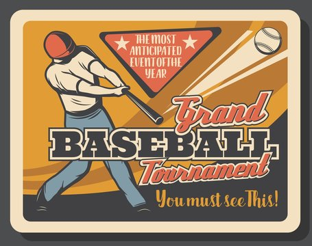 Baseball sport match invitation, batter player