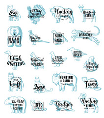 Hunting icons with animals or birds, lettering