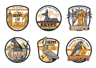 Egypt travel destination icons, Egyptian Gods