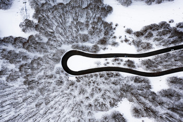 Foto auf AluDibond Grau Aerial view of a beautiful serpentine road with some cars that run through it. Spectacular landscape consisting of a pine trees forest and white snow. National Park of Abruzzo.