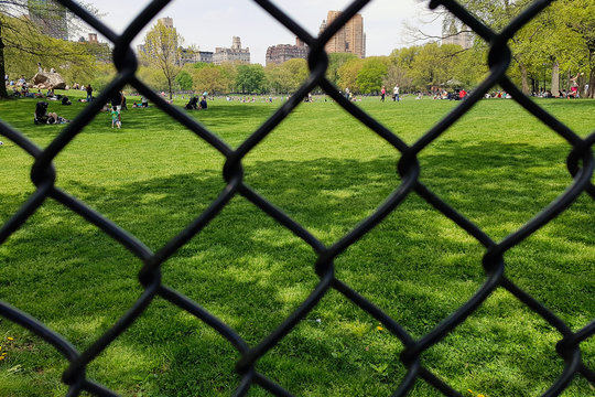 Close view of the fence in the central park on the lawn where adults and children walk. View through the iron grid to the clearing where people walk