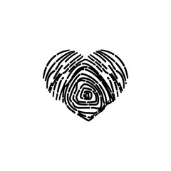heart fingerprint icon. Element of Valentine's Day icon for mobile concept and web apps. Detailed heart fingerprint icon can be used for web and mobile